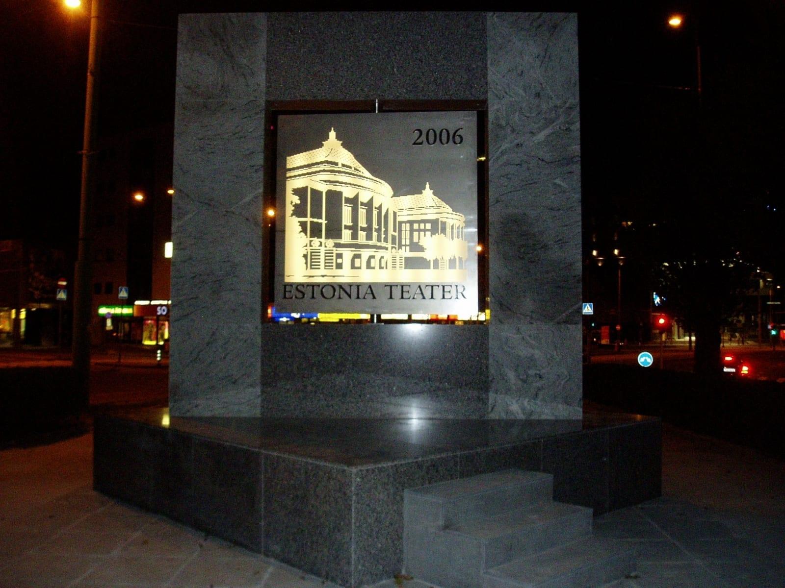 ESTONIA TEATRI 100 JUUBELI MONUMENT 2006 h= 5 m graniit, roostevaba teras, keskmine osa pöörlev ja valgustatud - Tallinn, Eesti  <br/>THEATRE ESTONIA 100 MONUMENT 2006 h= 5 m granit, stainless steel, the middle part is moving, light inside - Tallinn, Estonia