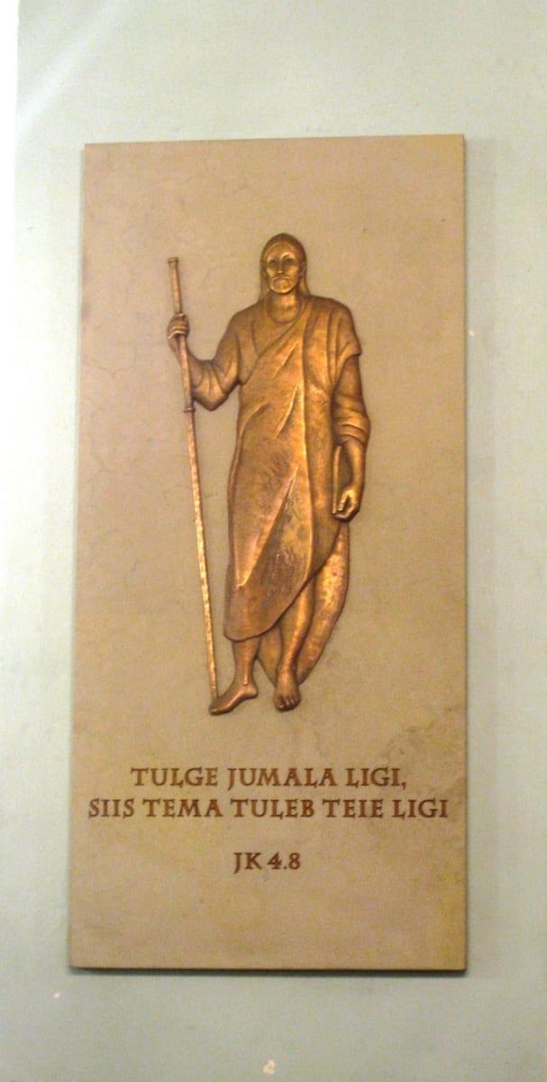 PÜHA JAKOB 2015 dolomiit, pronks 150 x 70 cm - Tapa kirik, Eesti  <br/>A tablet for ST.JAKOBUS 2015 dolomite, bronze 150 x 70 cm - Tapa Church, Estonia
